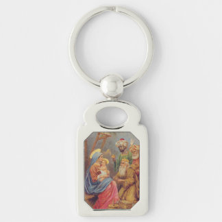 Christmas Vintage Nativity Jesus Illustration Silver-Colored Rectangle Key Ring
