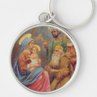 Christmas Vintage Nativity Jesus Illustration Silver-Colored Round Key Ring