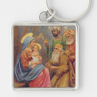 Christmas Vintage Nativity Jesus Illustration Silver-Colored Square Key Ring