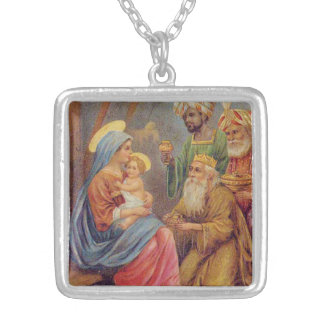 Christmas Vintage Nativity Jesus Illustration Silver Plated Necklace