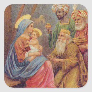 Christmas Vintage Nativity Jesus Illustration Square Sticker