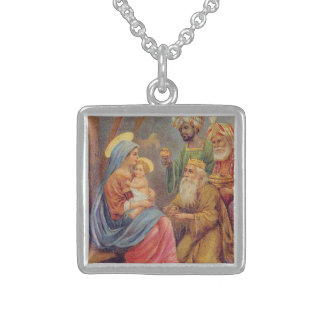 Christmas Vintage Nativity Jesus Illustration Sterling Silver Necklace