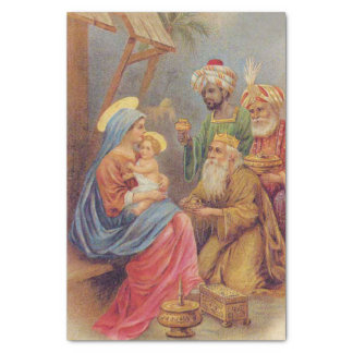 Christmas Vintage Nativity Jesus Illustration Tissue Paper