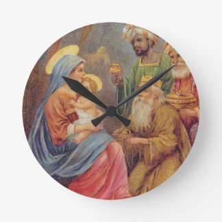 Christmas Vintage Nativity Jesus Illustration Wallclocks