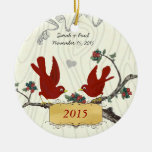 Christmas Vintage Red Birds on Wood Grain Christmas Ornaments