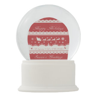 Christmas Vintage Santa Sleigh Winter Snowglobe
