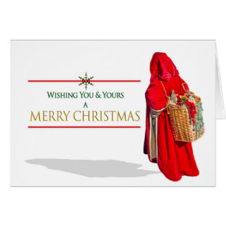 CHRISTMAS - Vintage Santa with Basket of Toys Card