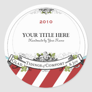 Christmas Vintage Tidings of Comfort Joy Round Sticker