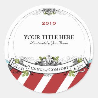 Christmas Vintage Tidings of Comfort & Joy Round Sticker