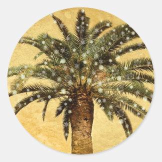 Christmas Vintage Tropical Palm Tree w Snowflakes Round Sticker