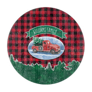 "Christmas Vintage Truck Add Name 12"" Cutting Board"