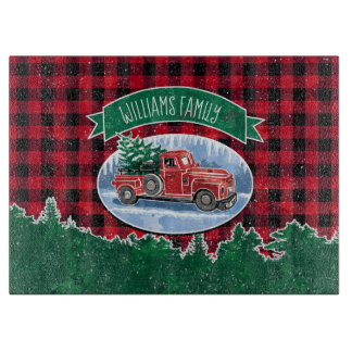 "Christmas Vintage Truck Add Name 15""x11"" Cutting Board"