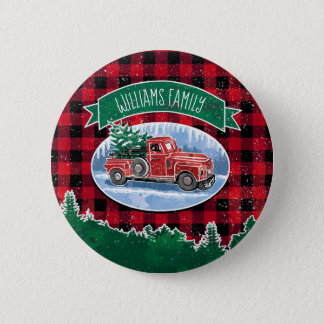 Christmas Vintage Truck Add Name 6 Cm Round Badge