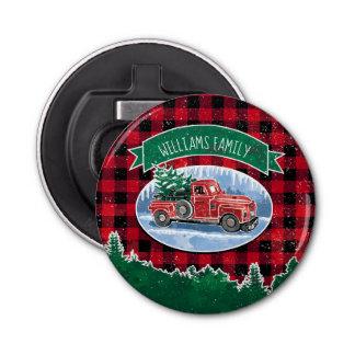 Christmas Vintage Truck Add Name Bottle Opener