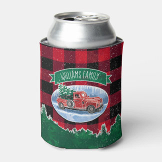 Christmas Vintage Truck Add Name Can Cooler