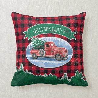 Christmas Vintage Truck Add Name Cushion