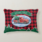 Christmas Vintage Truck Add Name Decorative Cushion