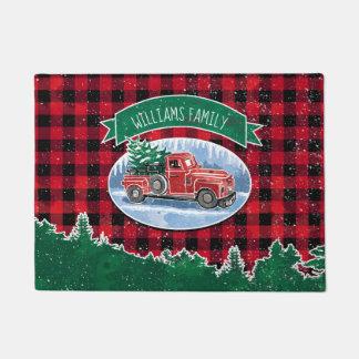 Christmas Vintage Truck Add Name Doormat