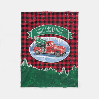 Christmas Vintage Truck Add Name Fleece Blanket