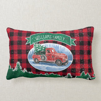 Christmas Vintage Truck Add Name Lumbar Cushion