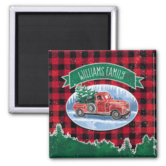 Christmas Vintage Truck Add Name Magnet