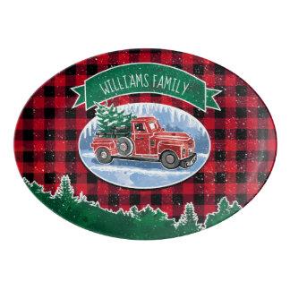 Christmas Vintage Truck Add Name Porcelain Serving Platter