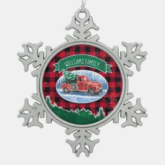 Christmas Vintage Truck Add Name Snowflake Pewter Christmas Ornament