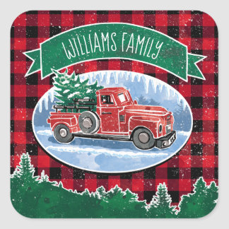 Christmas Vintage Truck Add Name Square Sticker