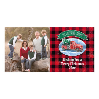 Christmas Vintage Truck Add Photo and Name Card