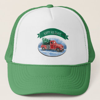 Christmas Vintage Truck Happy Holidays Trucker Hat