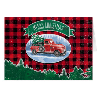 Christmas Vintage Truck Personalized Card
