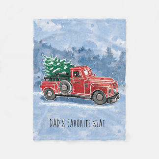 Christmas Vintage Truck Scene Fleece Blanket