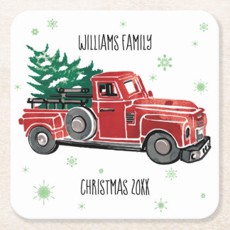 Christmas Vintage Truck w/ Snowflakes Square Paper Coaster