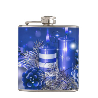 Christmas Vinyl Wrapped Flask/Candlelights Hip Flask