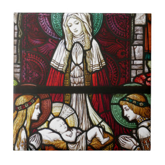 Christmas Vitrage Mother Mary and Jesus Ceramic Tile