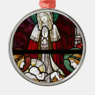 Christmas Vitrage Mother Mary and Jesus Metal Ornament
