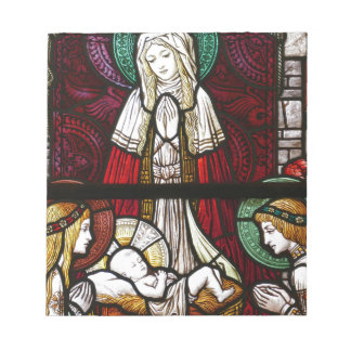 Christmas Vitrage Mother Mary and Jesus Notepad