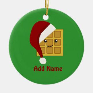 Christmas Waffle Ceramic Ornament