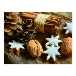 Christmas walnuts cinnamon cookies postcard