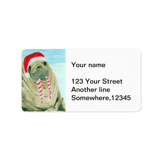 Christmas Walrus Label