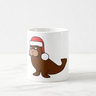 Christmas Walrus with Red Santa Hat Basic White Mug