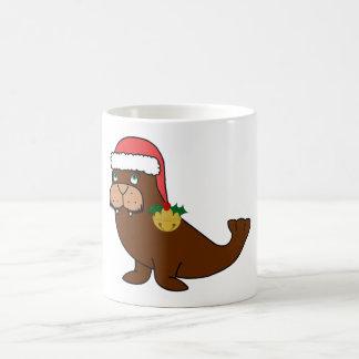 Christmas Walrus with Santa Hat & Gold Bell Basic White Mug