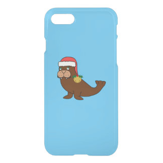 Christmas Walrus with Santa Hat & Gold Bell iPhone 7 Case