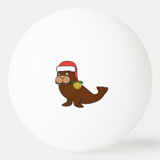 Christmas Walrus with Santa Hat & Gold Bell Ping Pong Ball