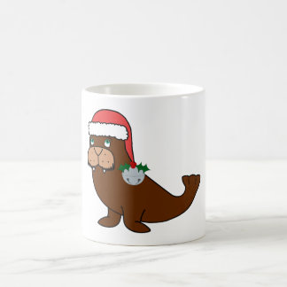 Christmas Walrus with Santa Hat & Silver Bell Basic White Mug