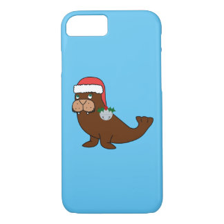 Christmas Walrus with Santa Hat & Silver Bell iPhone 7 Case