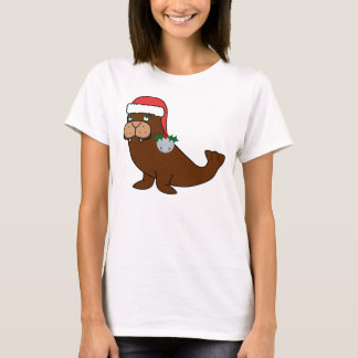 Christmas Walrus with Santa Hat & Silver Bell T-Shirt