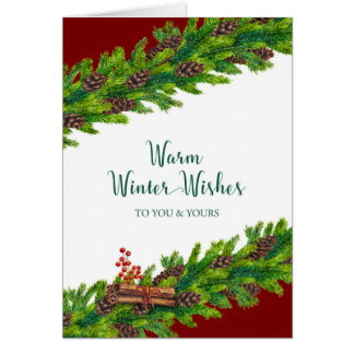 Christmas Warm Winter Wishes Pine Garland Card