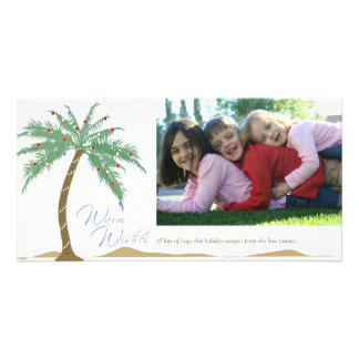 Christmas Warm Wishes, Palm Tree Beach Picture Card