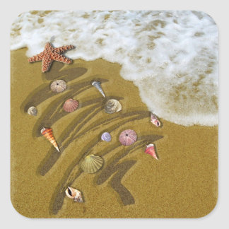 Christmas Washed Up on Shore Square Stickers